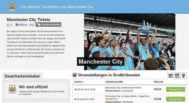 Manchester City - Ticketplattform